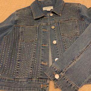 CHICO'S PLATINUM Embellished Cropped Denim Jacket